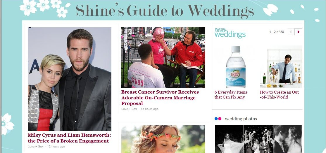 Yahoo Shine's Guide to Weddings zeigt viele meiner Hochzeitsfotos